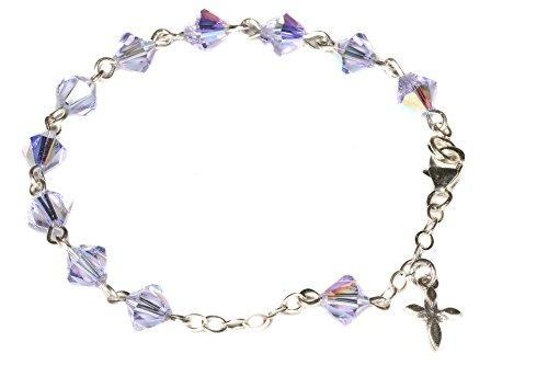 (Child Rosary Bracelet made w/Alexandrite Violet/Blue AB Swarovski Crystals - June (Communion & more))