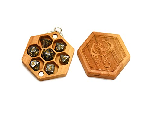 Keychain Hex Dice Wood Chest with Magnetic Lid - Perfect for DnD, Magic the Gathering Dice Counters and Any Other Tabletop Games by Elderwood Academy (Mini-Cherry/Dragon)