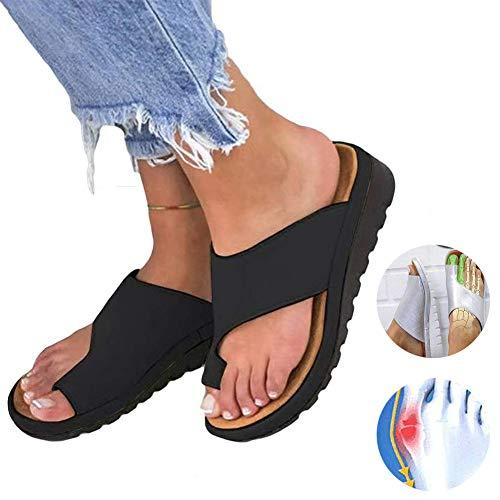 2019 New Women Comfy Platform Sandal Shoes Summer Beach Travel Shoes Fashion Sandals Comfortable Ladies Shoes Roman Slippers Sandals (Black,38)