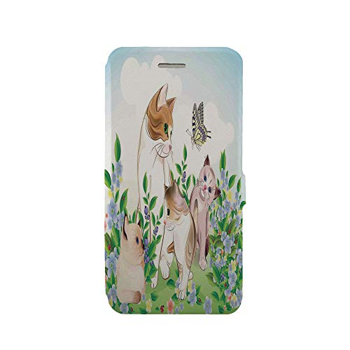 Phone case Compatible with iPhone 6 Plus/iPhone 6s Plus 3D Printed PU Skin Cover Protection Sleeve,Meadow Field Happy Cats Family with Butterfly Kids,iPhone case Premium PU Leather Magnetic Flip Foli