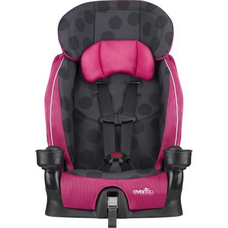 Evenflo Advanced Chase Lx Harness Booster Seat | Simple Adjustability with Upfront Harness Fitting and 2- Crotch Buckle Positions - Dotty Flamingo by EvenfloProducts.