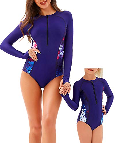 YOLIPULI Mother and Daughter Rashguard Long Sleeve Zip UV Protection Print Surfing Suit Swimwear Family Matching Swimsuit Navy Blue Girl 5-6 Years Old