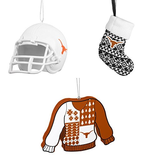 NCAA Texas Longhorns ABS Helmet Ornament ORNAMENT STOCKING KNIT Foam Ugly Sweater Christmas Bundle 3 Pack By Forever (Champions Christmas Stocking)