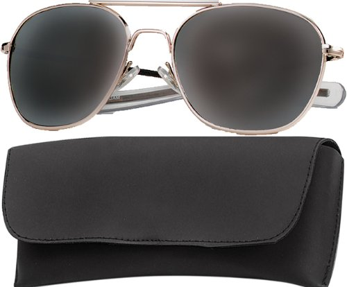 10604 G.I. Type Pilot's Aviator Sunglasses 52MM (Gold/Smoke)