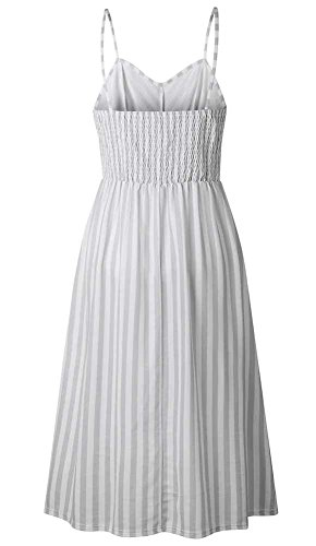 Without Women's Oops Summer Beach Strap Dresses Style Midi with Down Swing Pocket Spaghetti grey Button Floral Dress Stripe01 Boho Pockets a5aqA
