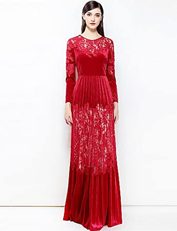 c73e6b7dc96cfc RENQINGLIN Womens Party Cute Boho Swing Maxi Dress,Solid Color Basic Round  Neck Long Sleeve Spring Summer,Red,S: Amazon.co.uk: Sports & Outdoors
