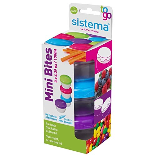 Sistema To Go Collection Mini Bites Small Food Storage Containers, 4.3 oz./127 mL, Pink/Green/Blue, 3 Count -