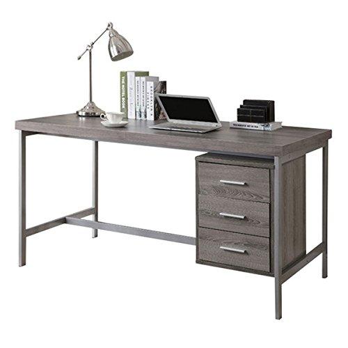 Monarch Reclaimed-Look/Silver Metal Office Desk, 60-Inch, Dark (Monarch Office Table)