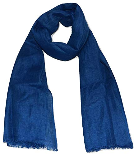 Natural Flax Linen, Solid Color, Light, Airy All Weather Scarf. (Cobalt Blue) ()