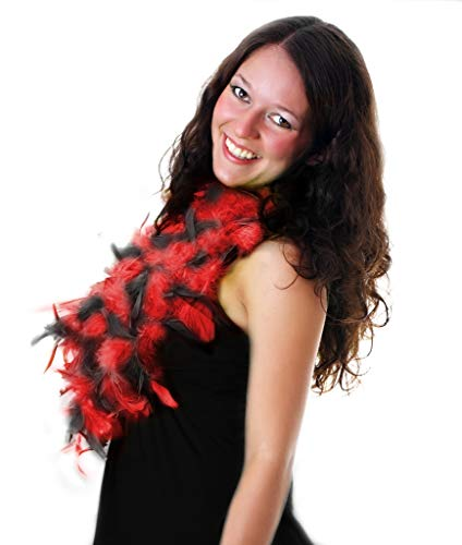 Fun Central AU007 6 inch Adult Feather Boa (Red / Black)