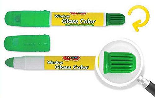 Toru Window Glass Color Crayon Marker Washable Paper Aqua Non-toxic 12 Colors by Toru (Image #3)