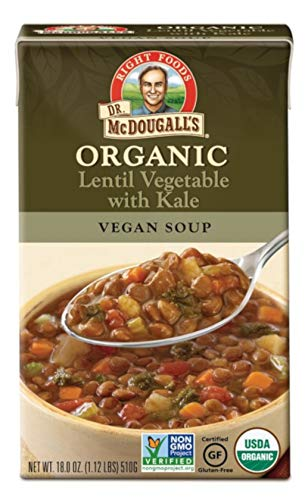 Dr. McDougall's Right Foods Organic Lentil Vegetable w/ Kale Vegan Soup, 18 Ounce (Pack of 6) Gluten-Free, USDA Organic, Non-GMO, No Added Oil, Paper Carton From Certified Sustainably-Managed Forests
