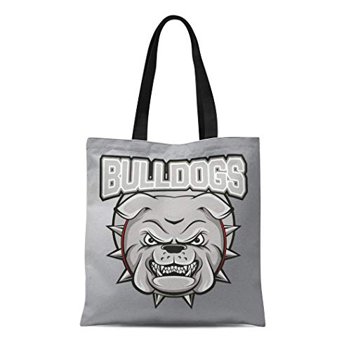 Semtomn Canvas Tote Bag Shoulder Bags British Bull Bulldogs Mascot Clipart Head Aggression Angry -
