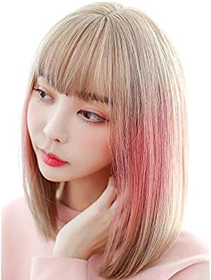 Women Hair Wig Beauty Womens Wigs With Bang Bob Style Short Straight Hair Pink Blonde Synthetic Entire Wig 2 Gloss Hairpieces Color 01 Size Free Buy Online At Best Price