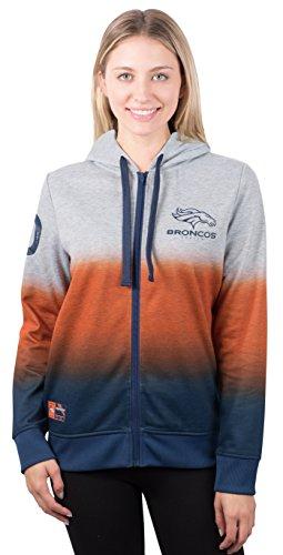 NFL Women's Denver Broncos Full Zip Hoodie Sweatshirt Jacket Hombre, Large, Gray Denver Broncos Womens Sweatshirts