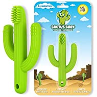 Cactus Baby Teething Toys Toothbrush | Self-Soothing Pain Relief Soft Silicone Teether Training Toothbrush for Babies, Toddlers, Infants, Boy and Girl | Natural Organic BPA Free | 3+ Months | Green