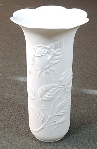 Kaiser West Germany White Bisque Porcelain Rose Floral Vase ...