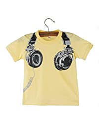 Gessppo Boy Kids Short Sleeve T-Shirt Summer Tees with Headphone Printing (Yellow, 90)