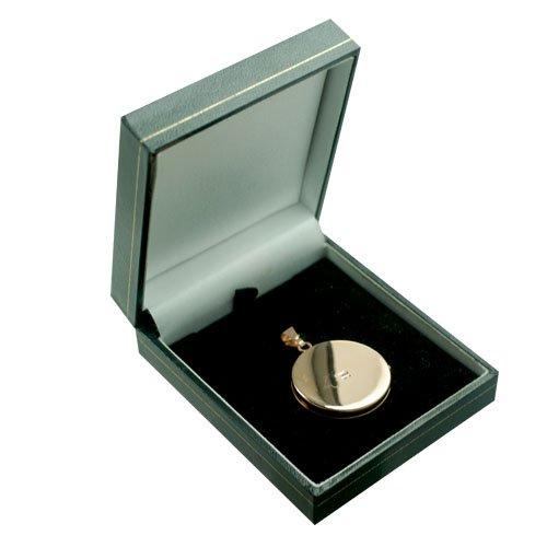 Médaillon rond à loquet, en or rose 375/1000 de 29mm gravé à la main