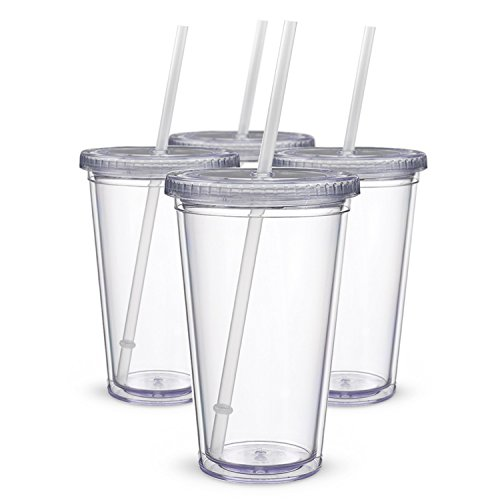 Maars Drinkware Bulk Double Wall Insulated Acrylic Tumblers with Straw and Lid (Set of 12), 16 oz., Clear