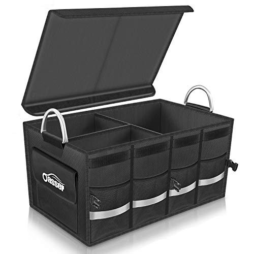 Oasser Trunk Organizer Cargo Storage Organizer Collapsible Multi Compartments with Cover Lid Aluminium Alloy Handle Reflective Tape Storage Box for Car SUV Van Auto  ()