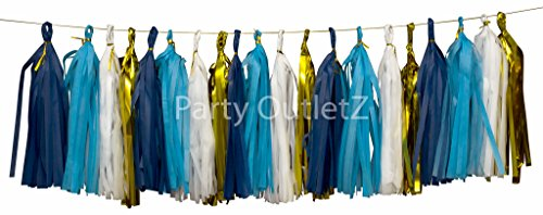 20 Pieces Tassels Birthday/Baby Shower/Bridal Shower Party Decoration Kit: Navy Blue+Blue+Gold+White - Blue Garland Dessert