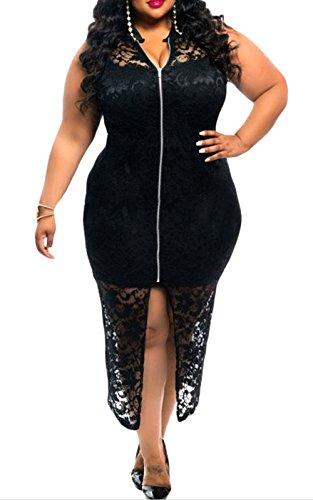 Elady Plus Size Lace Zipper Midi Dress Women Clubwear Party Cocktail Bodycon Black (XXXL)