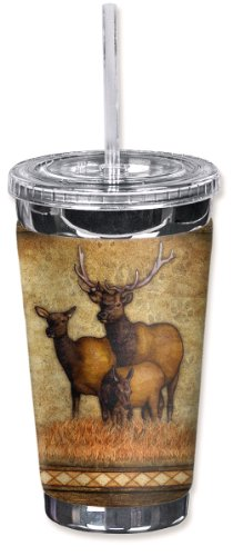 Mugzie brand 16-Ounce To Go Tumbler with Insulated Wetsuit Cover - Elk's