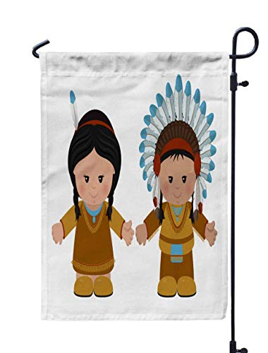 GROOTEY Welcome Outdoor Garden Flag Home Yard Decorative 12X18 Inches Cartoon Characters American Man Woman in National Dress Double Sided Seasonal Garden Flags]()
