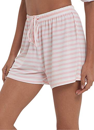 GYS Womens Bamboo Drawstring Pajama Shorts, Pink and White Stripe, X Large