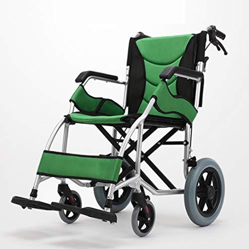 SHOWGG Multiuso de aviación Ligera aleaciones de Titanio, sillas de Ruedas Manual Doblar el geriátrico portátil...