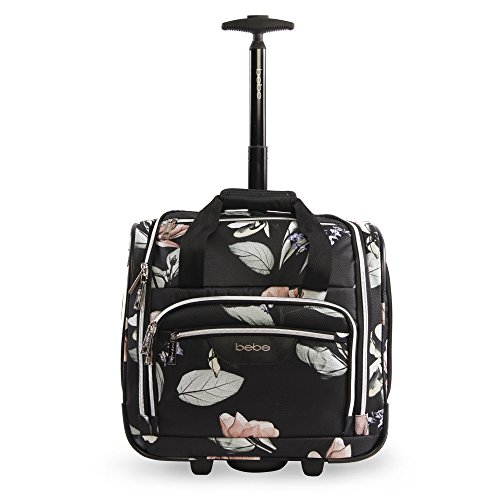 BEBE Women's Valentina-Wheeled Under the Seat Carry-on Bag, Black Floral -