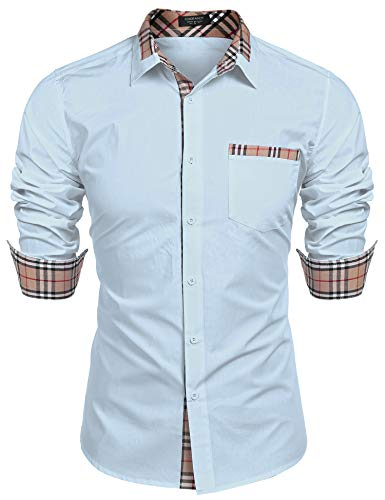 (COOFANDY Men's Cotton Casual Long Sleeve Dress Shirt Plaid Collar Slim Fit Button Down Shirt Light Blue)