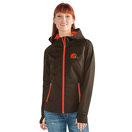 GIII For Her NFL Cleveland Browns Women's Onside Kick Light Weight Full Zip Jacket, Medium, Brown