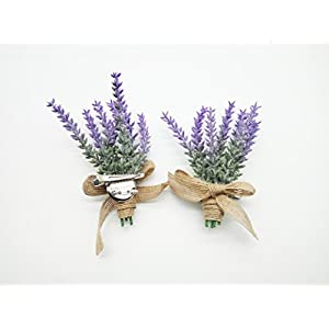 Yokoke Artificial Lavender Flowers Boutonniere Bouquet Corsage Wristlet 4 Pcs Nearly Natural Fake Purple Plant with Burlap Bow for for Wedding Church Party Home Decor 4