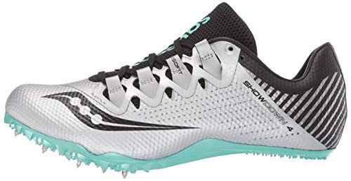 Saucony Women's Showdown 4 Track Shoe, Silver/Teal, 5 Medium US by Saucony (Image #5)