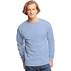 Hanes TAGLESS 6.1 Long Sleeve T-Shirt, L-Light Blue