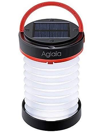 Linterna de camping Aglaia LED, lámpara de camping recargable con energía solar y USB con