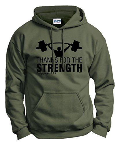 Thanks for the Strength Christian Gym Workout Hoodie Sweatshirt Small MlGrn (What Is A Nice Thank You Gift)