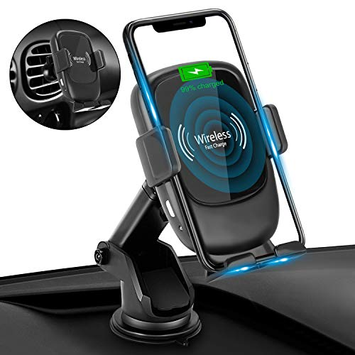 Wireless Car Charger Mount, MTWhirldy 10W 7.5W Qi Fast Wireless Charger for iphone X Car Phone Mount Compatible with iPhone Xs MAX XS XR X 8 Samsung Galaxy S10 S10 S9 S8 Air Vent Phone Holder – Black