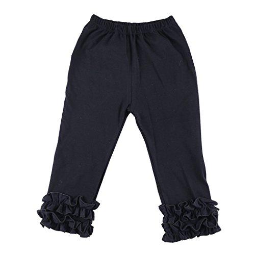 Wennikids Toddler Litle Girls Cotton Ruffle Leggings Small Black