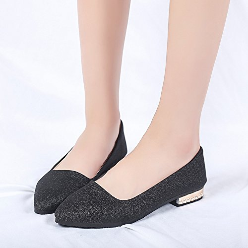 Longra On Shoes Flat Pointed Shallow Heel Single Low Sequins Black Ladies Shoes Slip Women's Shoes Party r4Rq1Yw6gr