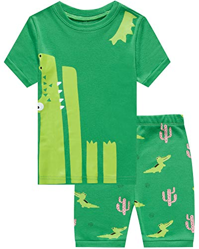 (Boys Pajamas 100% Cotton Crocodile Short Kids Snug Fit Pjs Summer Toddler Sleepwear 3T)
