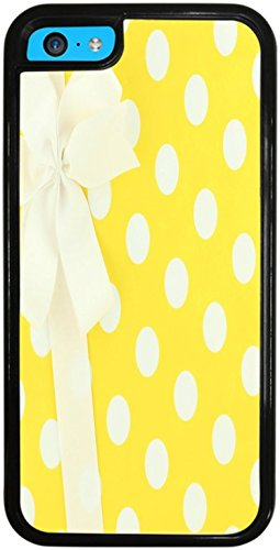 White and Yellow Polka Dots Wrapped Present With Bow Black Silicone Case for iPhone 5C by Debbie's Designs