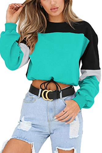LEISUP Women's Color Block Scoop Neck Long Sleeve Sweatshirt Pullover Top Green S