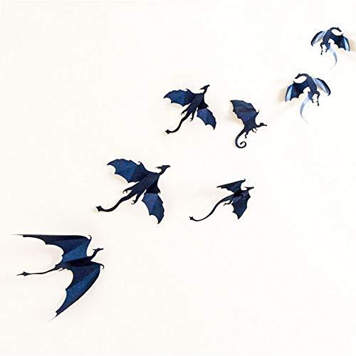 Tattooshe Dragons Wall Sticker Game of Thrones Inspired 3D Dragon Decor 7Pcs/Lot (Black) ()