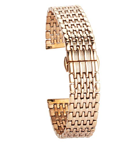 - 14Mm Stainless Steel Watch Band Rose Gold Watch Strap Replacement for Womens