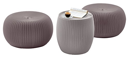 Keter-3-piece-Cozy-Urban-Knit-Furniture-Set-Compact-IndoorOutdoor-Table-and-2-Seating-Poufs