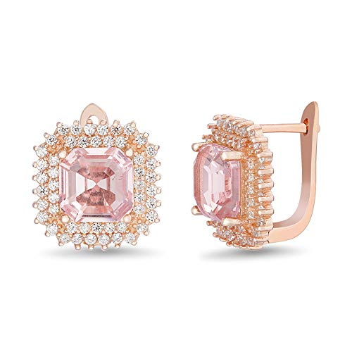 INSPIRED BY YOU. Square Emerald and Round Prong Set Simulated Morganite and Cubic Zirconia Stud Bridal Halo Earring for Women in Rose Gold Plated 925 Sterling ()