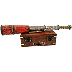 "The 6th Century Nautical Handheld Pirate Brass Telescope with Wooden Box,Sailor Home Decor Pirate Captain Boat Toy Gift (14""Spyglass, The Chess Maker)"